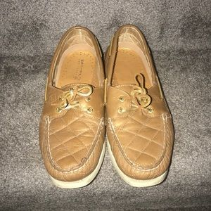 Gold and tan sperrys